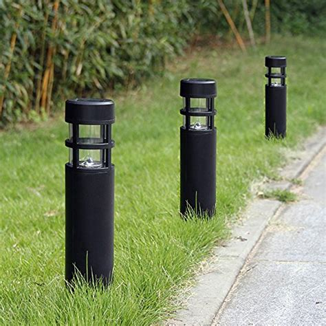 solar bollard lights outdoor voona solar bollard lights outdoor 6 pack garden led pathway lights black ls lights leds