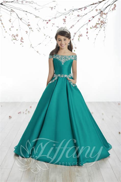 tiffany princess  girls  shoulder mikado ball gown