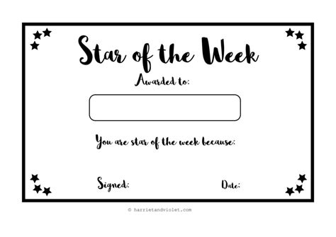 printable star of the week form blank vector printable blank certificates certificate