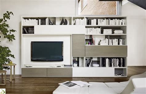 parete libreria soggiorno in legno giaco arredo design