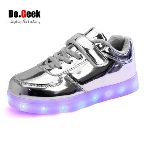 Ads Shoes Led Size 20 25 dogeek led shoes silver gold light up boys unisex zapatos lus children luminous casual