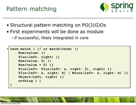 Pattern Matching Groovy   groovy to infinity and beyond groovy grails exchange 2009