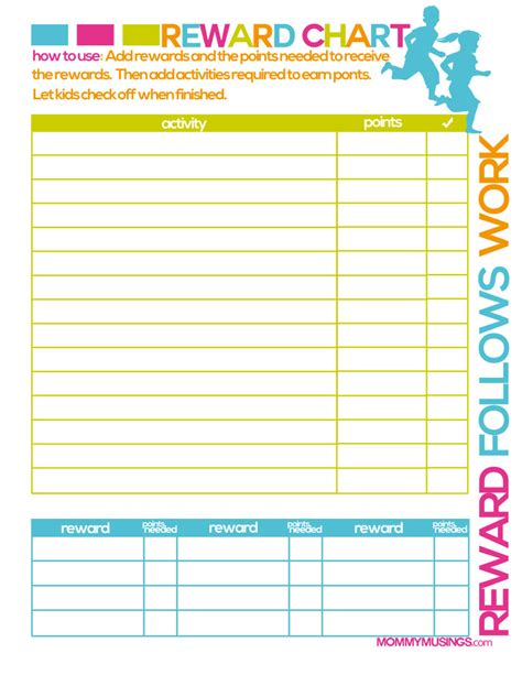 printable incentive reward charts free printable kids chore rewards chart kids rewards