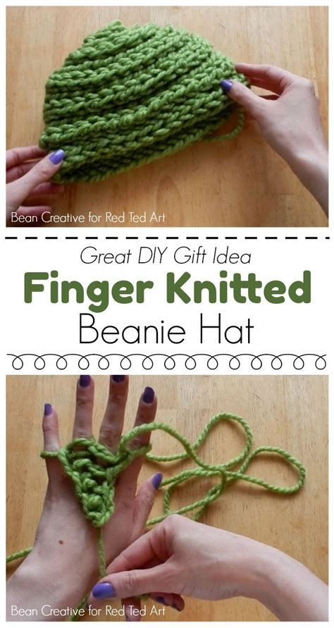 how to make a finger knit hat how to finger knit a beanie hat diy finger knitting