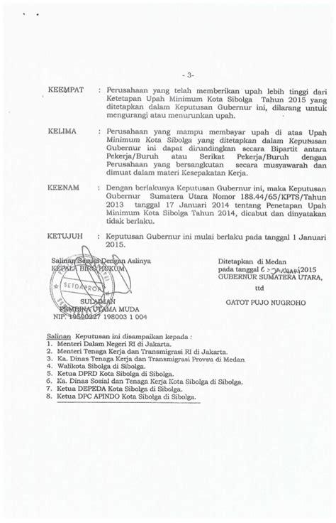 peraturan gubernur sumatera utara tentang penetapan umk kota sibolga