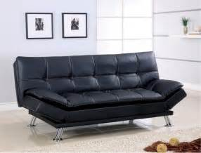 futon sofa bed black leather white stitching sofa bed