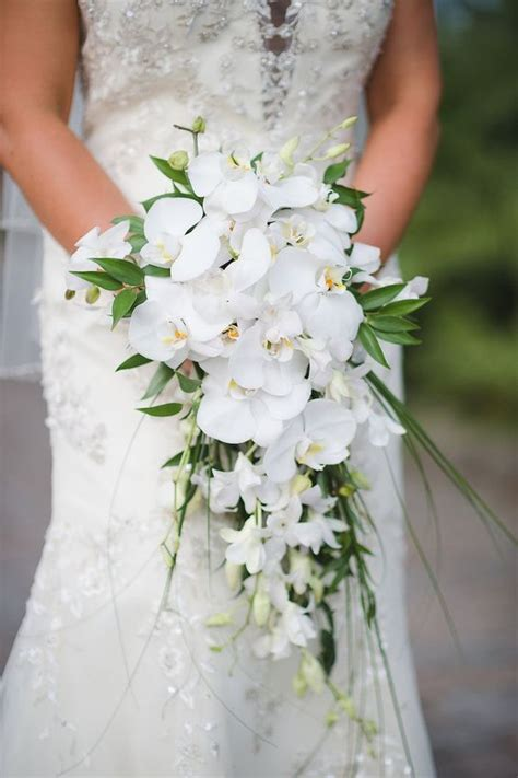 orchid wedding bouquet bridal wedding portait with white orchid cascading wedding