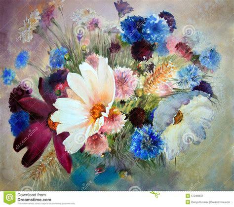 Elegant Wall Murals watercolor painting of beautiful flowers stock