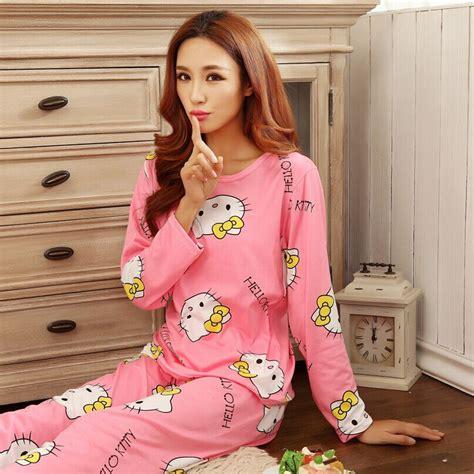 Baju Tidur Piyama Dewasa Katun Celana Panjang Kotak Kotak Biru piyama wanita karakter kartun size l pink