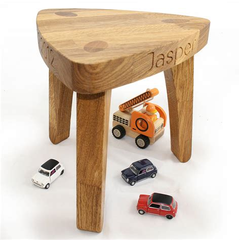 childrens wooden stools with name original tristool solid oak chunky 3 leg stool jpg
