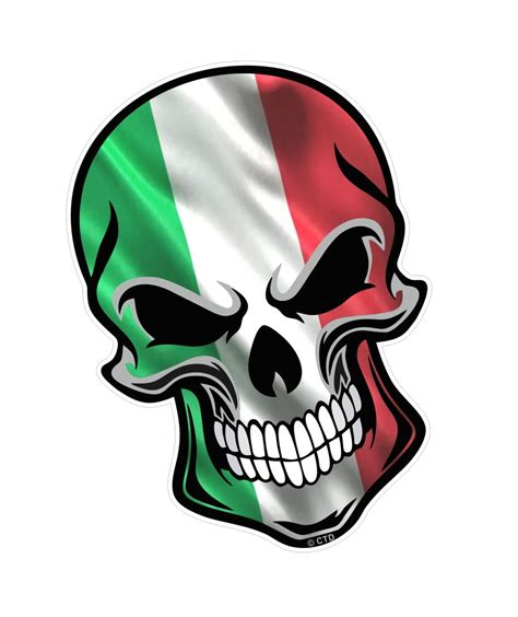 White Butterfly Wall Stickers gothic biker skull italy italian il tricolore flag with