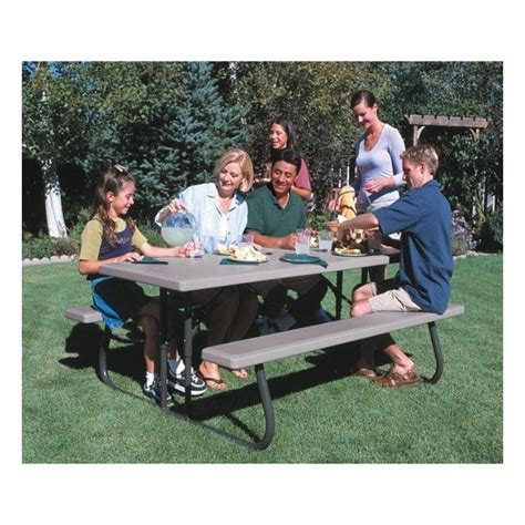 lifetime 22119 folding picnic table lifetime 6 ft folding picnic table putty 22119