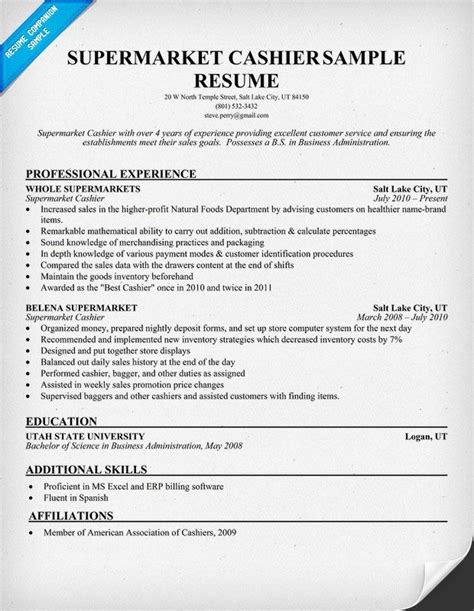 Cashier Resume by Supermarket Cashier Resume Sles Across All Industries