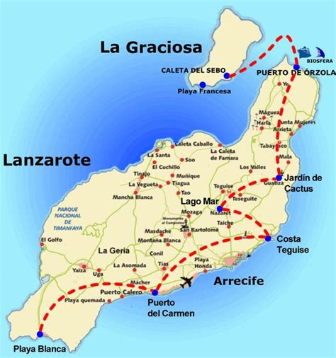 printable road map fuerteventura map that shows lanzarote and la graciosa island canary