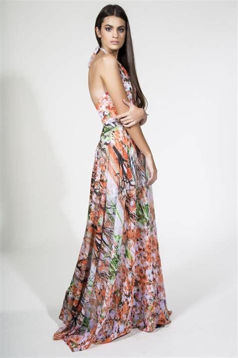 vestidor largos vestido largo estado de flores cuello halter y escote