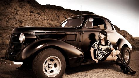 retro cer vintage car and girl old looking photo hd car wallpaper