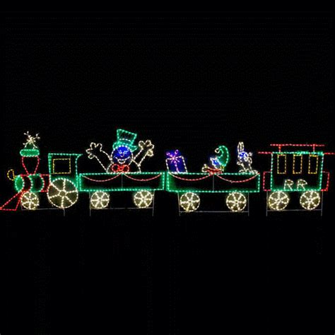 outdoor lighted animated frosty train