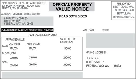 official property value notice king county