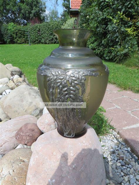 Jugendstil Len by Gro 223 E Vase Jugendstil Glas Mit Floralen Metallaplikationen