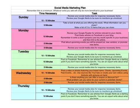 social media weekly schedule