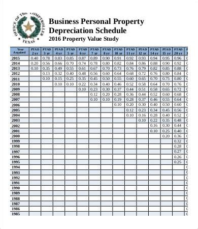 depreciation schedule templates 7 free word excel pdf