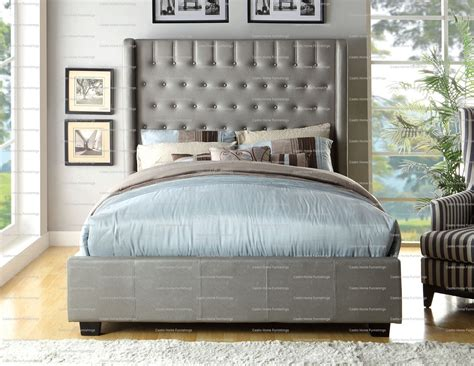 king tufted bed frame king size elegant mira silver leatherette button tufted