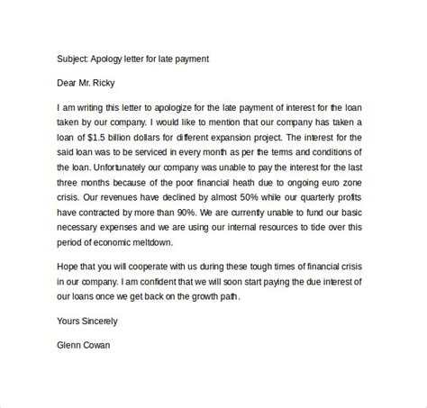 Business Apology Letter For Delay In Payment sle apology letter for being late 8 free documents