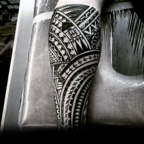 male with cool polynesian tribal leg sleeves tattoo