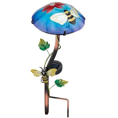 Solar Light Mushroom Stake - regal art amp gift 10638 15 75 quot x 6 5 quot bee mushroom stake solar led light elightbulbs com