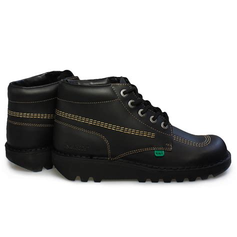 Kickers Shoes 5 kickers kick hi m black gold leather youth school shoes boots size 6 5 10 5 ebay