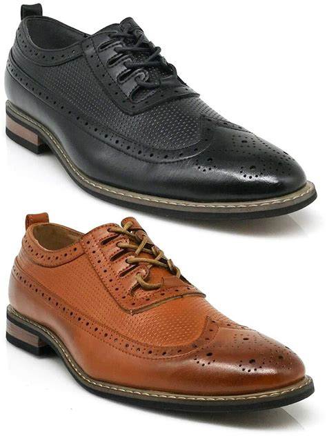 parrazo dress shoes wingtip oxford leather lined lace up black brown wood 2 ebay