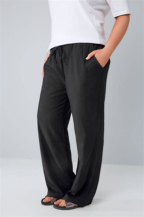 Can You Use A Mastercard Gift Card Online - black linen mix pull on wide leg trousers with pockets plus size 16 to 36