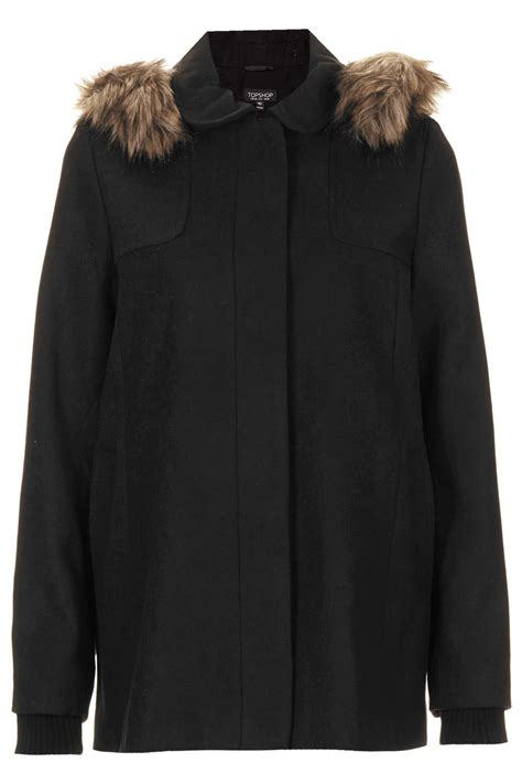 swing coat with hood topshop faux fur hooded swing coat in black lyst