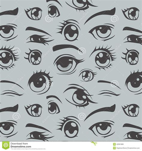 seamless eye pattern eyes of anime seamless pattern stock illustration image