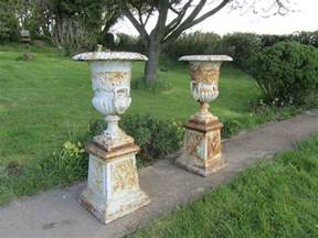 Garden Urns Planters by Antiques Atlas Pair Large Cast Iron Urns