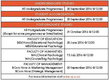 University Of Johannesburg Uj Online Application 2017
