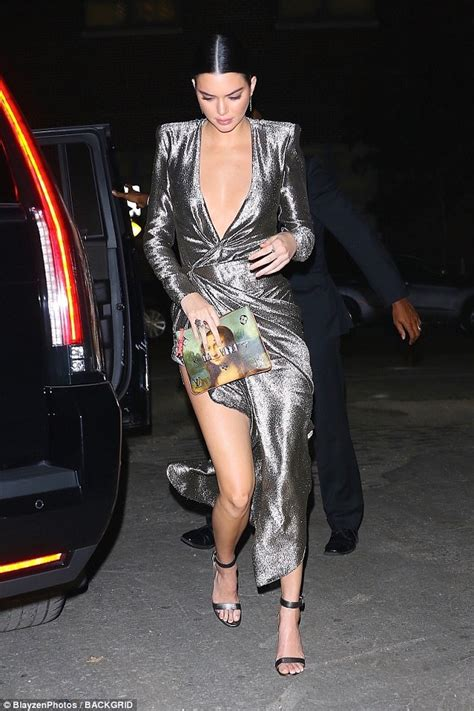123 Kendal Dress kendall jenner shows serious leg in silver dress in nyc daily mail