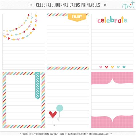 cards free free journal card printables