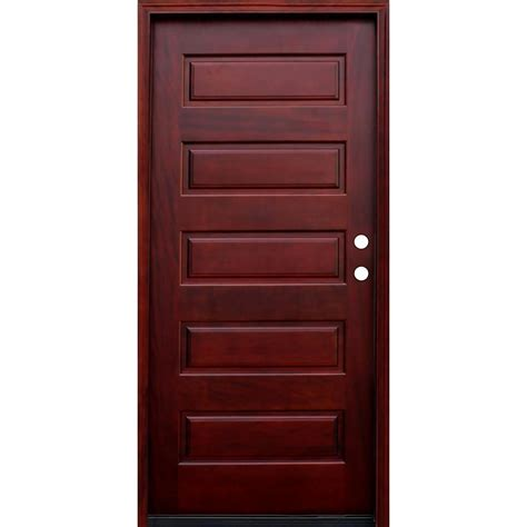 Door Exterior 36 In X 80 In Rustic Mahogany Type Right Inswing Stained Distressed Speakeasy Solid Wood