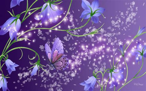 hd blue bells  purple wallpaper
