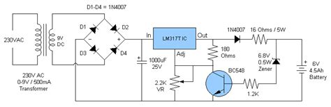 6v battery charger circuit diagram 6v 4 5ah battery charger circuit circuit diagram