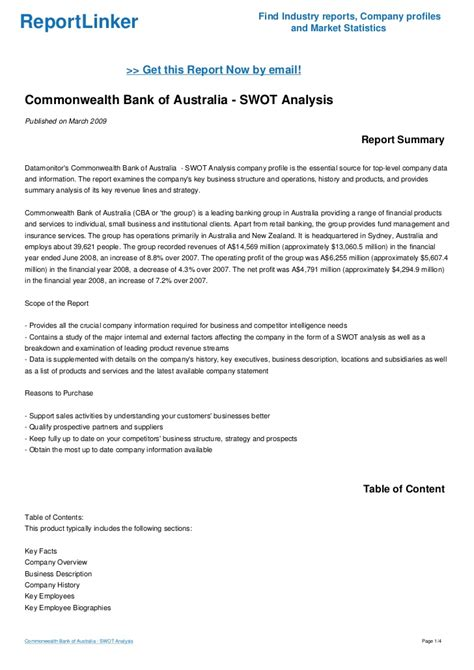 bank of australia commonwealth bank of australia swot analysis
