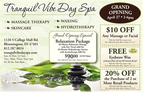 Stallex Skin Care March Promotion by Grand Opening Specials Tranquil Vibe Day Spa Tranquil