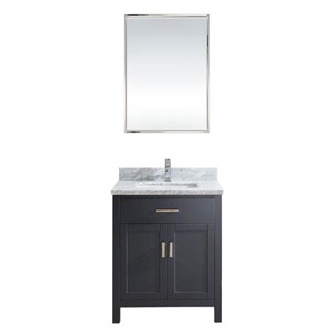 30 Inch Bathroom Vanity Cabinet 30 Inch Pepper Gray Finish Transitional Bathroom Vanity Cabinet With Mirror