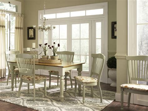 rustic dining room with french country style dining sets and wooden dining table with white legs