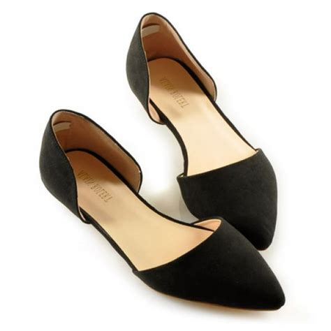 flat black womens shoes simple solid color and stitching design s flat shoes