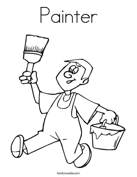 Painter Coloring Page Twisty Noodle Paint Coloring Pages