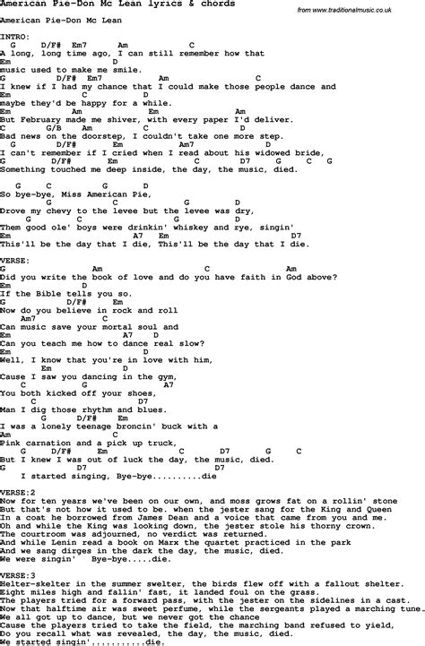 Printable Lyrics To American Pie | love song lyrics for american pie don mc lean with chords
