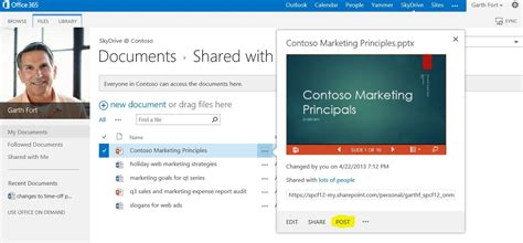 sharepoint online office blogs starting yammer conversations from documents stored in