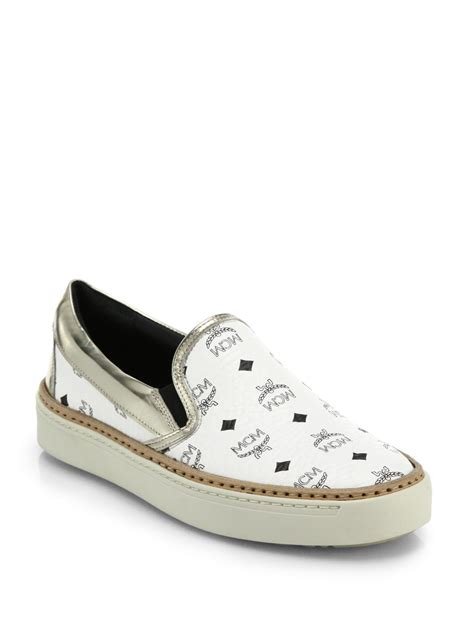 white mcm sneakers mcm visetos logo print leather slip on sneakers in white